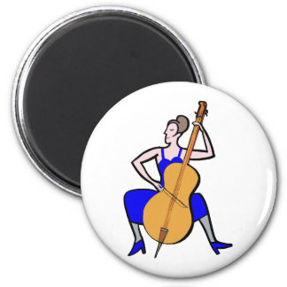 Orchestra bass player female blue dress magnets