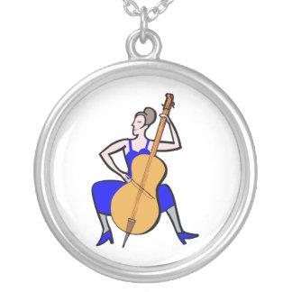 Orchestra bass player female blue dress silver plated necklace