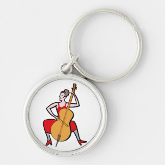 Orchestra bass player female red dress.png keychain