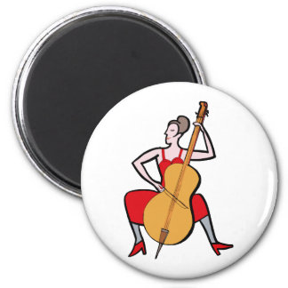 Orchestra bass player female red dress png fridge magnet