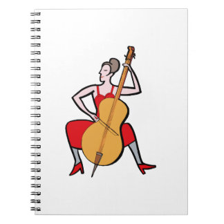 Orchestra bass player female red dress.png notebook