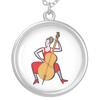Orchestra bass player female red dress.png silver plated necklace