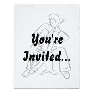 Orchestra Bass Player Man Outline 4.25x5.5 Paper Invitation Card