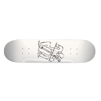 Orchestra Bass Player Stylized Outline Skateboard