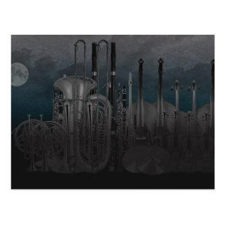 Orchestra Instrument Nighttime Skyline Postcard