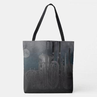 Orchestra Instruments Nighttime Moonlit Skyline Tote Bag