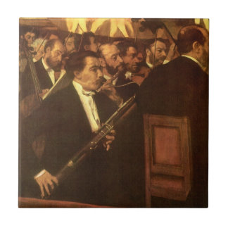 Orchestra of Opera by Degas, Vintage Impressionism Small Square Tile