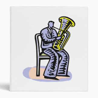 Orchestra Tuba Player Graphic, Seated Image Vinyl Binder