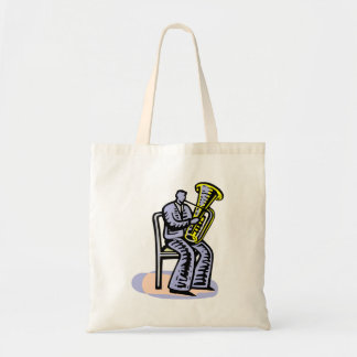 Orchestra Tuba Player Graphic, Seated Image Tote Bag