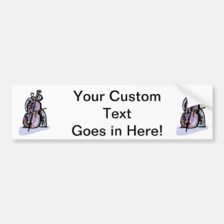 Orchestral Bass Player Image Graphic Design Car Bumper Sticker