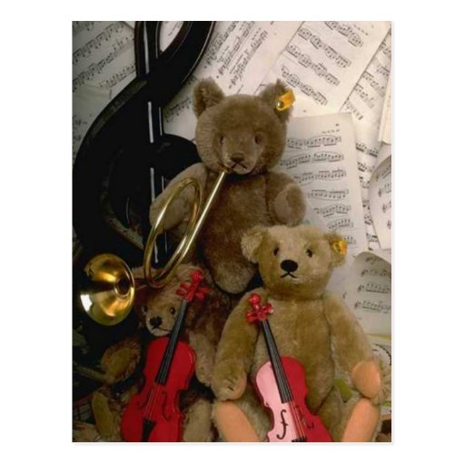 Orchestral bears post card