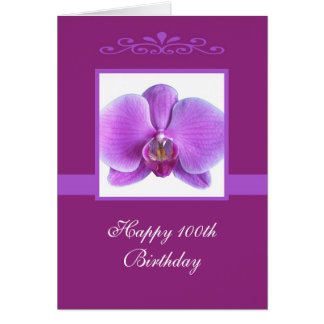 Orchid 100th Birthday Card