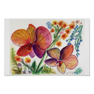 Orchid 31 Two Orange Flowers Poster