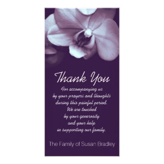 Orchid 3 Sympathy Thank you Photo Card
