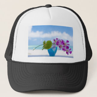 Orchid and Anthrium ON the Glass Trucker Hat