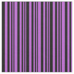 [ Thumbnail: Orchid and Black Colored Lines Fabric ]