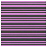 [ Thumbnail: Orchid and Black Colored Stripes Fabric ]