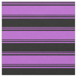 [ Thumbnail: Orchid and Black Colored Stripes/Lines Pattern Fabric ]