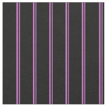 [ Thumbnail: Orchid and Black Lined/Striped Pattern Fabric ]