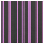 [ Thumbnail: Orchid and Black Pattern of Stripes Fabric ]