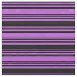 [ Thumbnail: Orchid and Black Striped/Lined Pattern Fabric ]