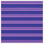 [ Thumbnail: Orchid and Blue Lines Pattern Fabric ]