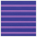 [ Thumbnail: Orchid and Blue Pattern of Stripes Fabric ]