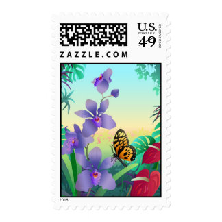 orchid and butterfly postage stamp
