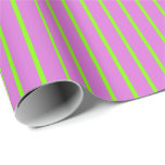 [ Thumbnail: Orchid and Chartreuse Colored Stripes Wrapping Paper ]