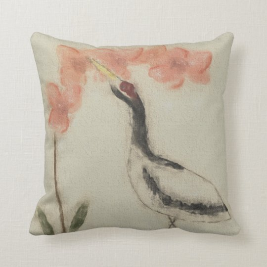 Orchid and Crane Accent Pillow