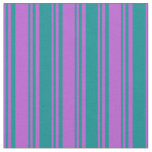 [ Thumbnail: Orchid and Dark Cyan Pattern of Stripes Fabric ]