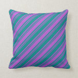 [ Thumbnail: Orchid and Dark Cyan Pattern of Stripes Pillow ]