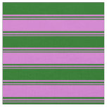 [ Thumbnail: Orchid and Dark Green Colored Pattern of Stripes Fabric ]