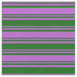 [ Thumbnail: Orchid and Dark Green Colored Stripes Pattern Fabric ]