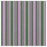 [ Thumbnail: Orchid and Dark Green Lined/Striped Pattern Fabric ]