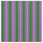 [ Thumbnail: Orchid and Dark Green Lines Fabric ]