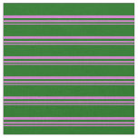 [ Thumbnail: Orchid and Dark Green Lines Pattern Fabric ]
