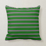 [ Thumbnail: Orchid and Dark Green Pattern Throw Pillow ]