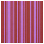 [ Thumbnail: Orchid and Dark Red Colored Stripes/Lines Pattern Fabric ]