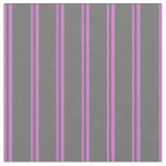 [ Thumbnail: Orchid and Dim Gray Stripes Pattern Fabric ]