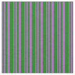 [ Thumbnail: Orchid and Green Colored Lines Fabric ]