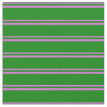 [ Thumbnail: Orchid and Green Colored Pattern of Stripes Fabric ]