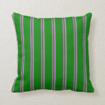[ Thumbnail: Orchid and Green Colored Pattern of Stripes Pillow ]