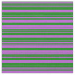 [ Thumbnail: Orchid and Green Colored Striped Pattern Fabric ]