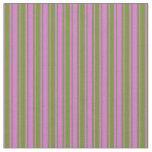 [ Thumbnail: Orchid and Green Colored Stripes/Lines Pattern Fabric ]