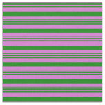 [ Thumbnail: Orchid and Green Colored Stripes Pattern Fabric ]
