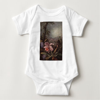 Orchid and Hummingbird by Martin Johnson Heade Baby Bodysuit
