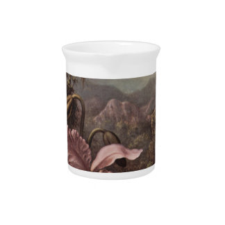 Orchid and Hummingbird by Martin Johnson Heade Drink Pitcher