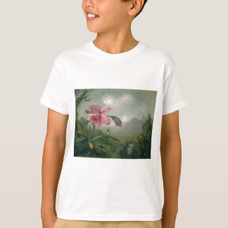 Orchid and Hummingbird near a Mountain Waterfall T-Shirt