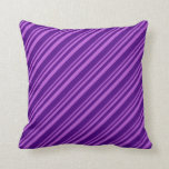 [ Thumbnail: Orchid and Indigo Stripes Pattern Throw Pillow ]